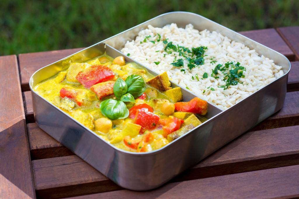 Curry aus gekeimten Kichererbsen
